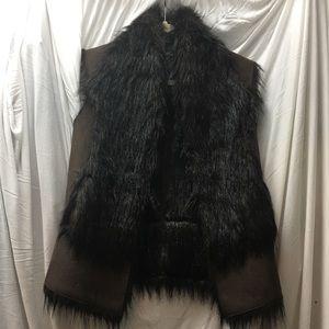 Black and Brown Faux Fur Vest